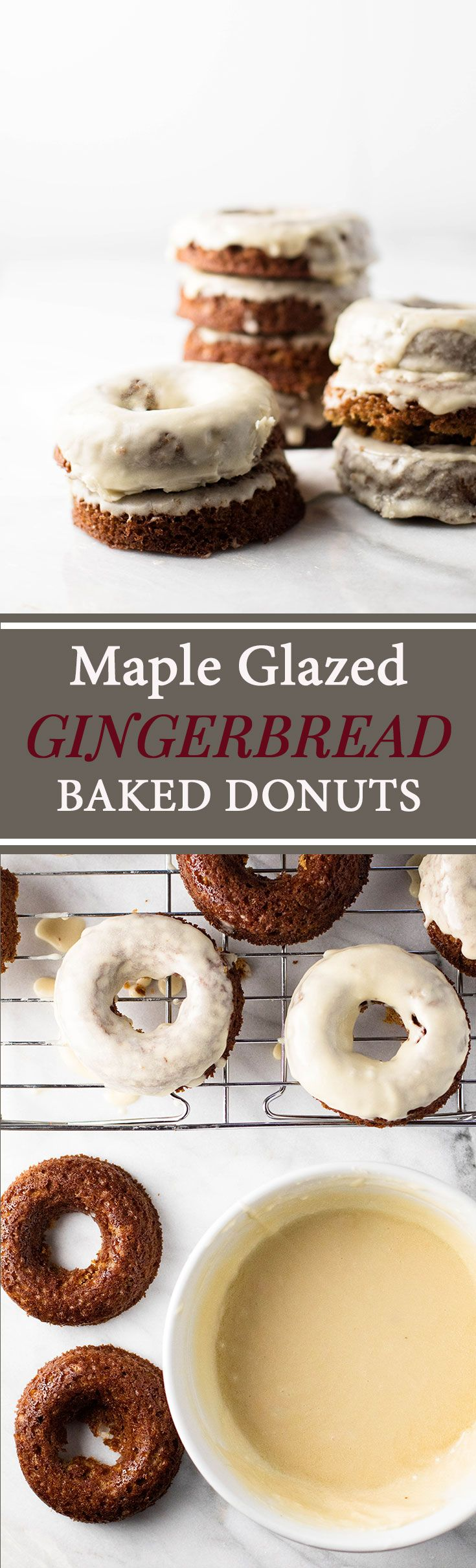 Gingerbread Baked Donuts with Maple Glaze | girlgonegourmet.com via @april7116