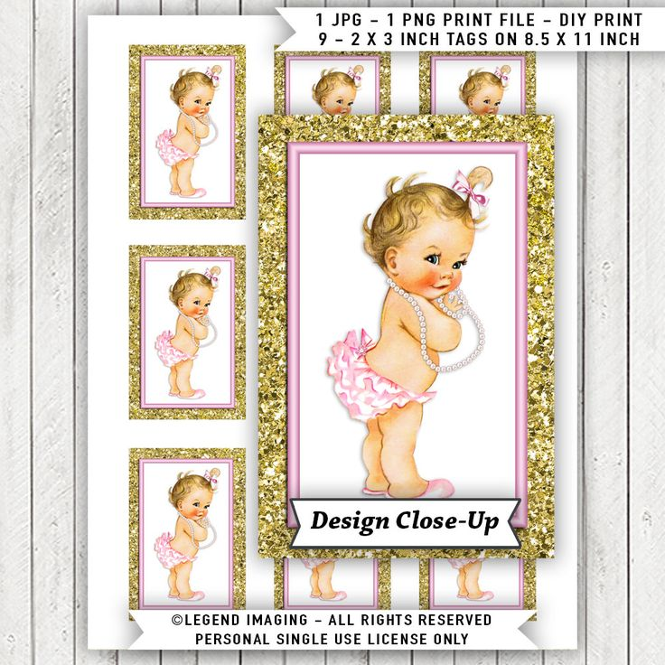 Pink Gold Baby Shower Gift Tags, Pink Gold Glitter Baby Shower Tags, Instant Download Baby Shower Tags, Blonde Girl Baby Shower Tags,Pearl by LegendImaging on Etsy