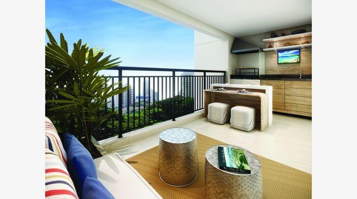 Terraço do apto de 106 m². Com churrasqueira e pia.