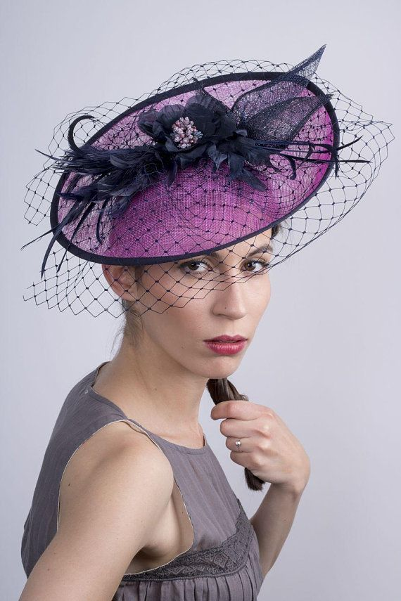 1443eada11087 Veiled hot pink fascinator with navy trimming and decoration by ...