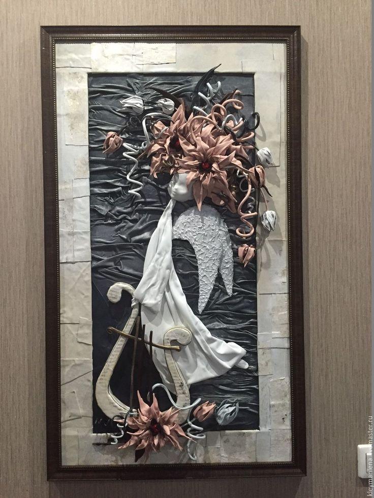 Купить Ангелочек - кожа, кожа натуральная, Картины и панно, картина для интерьера, картины из кожи, подарок