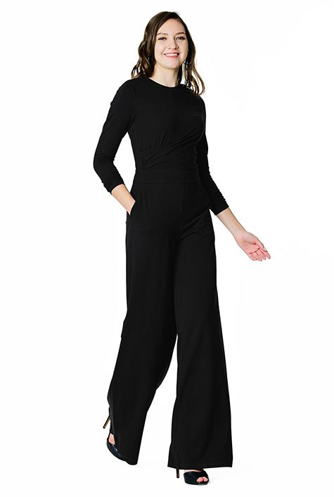 6dab6d78b707 I  3 this Asymmetric pleated cotton knit jumpsuit from eShakti ...