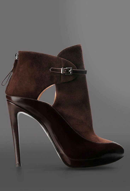 Giorgio Armani Suede & Patent Chocolate Booties Fall 2014 #Armani #Shoes #Boots