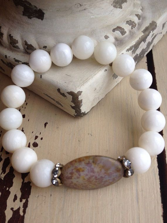 Bohemian White Shell Oval Purple/Gold/Picasso by MarleeLovesRoxy, $39.00