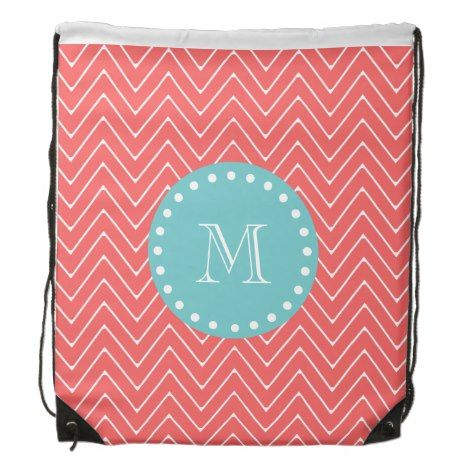 Coral Chevron Pattern | Teal Monogram Drawstring Bag #chevron #pattern #accessories