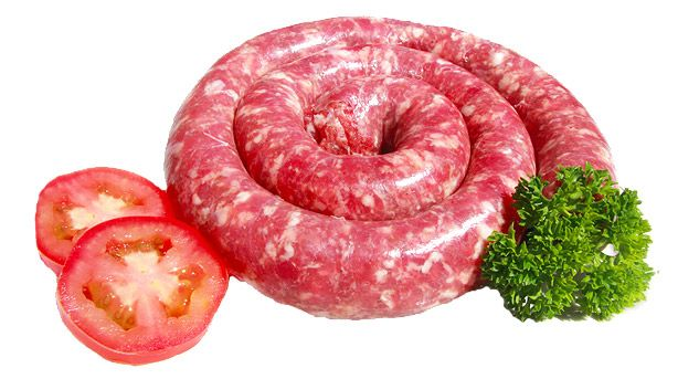#Boerewors is a type of sausage that is typical in traditional South African cuisine. It contains coarsely beef minced meat and pork which is flavoured with mixed spices (coriander seed, black pepper, nutmeg, cloves and allspice) and packed in either a sheep or pork casing.