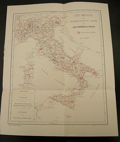 Carta dimostrativa della triangolazione di 1° ordine dell'Italia continentale ed insulare. s.d. (ma 1902). Cartina - Cartografia tematica - Italia - Triangolazione - Basi geodetiche - Geodesia - Stampa - Geografia -  -