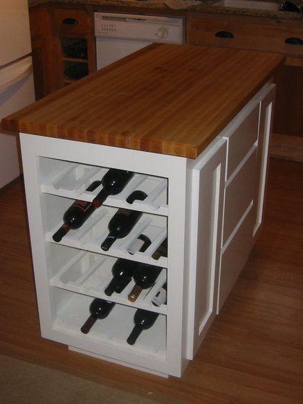Kitchen island wine rack.