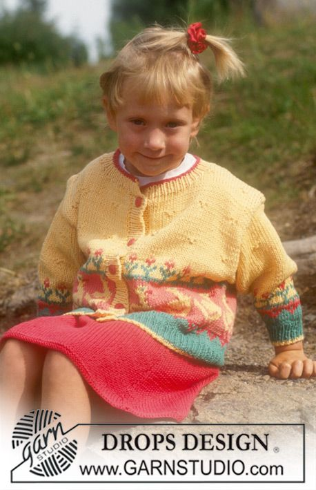 Cardigan and Skirt in Muskat with Ducks and Flowers. ~ DROPS Design