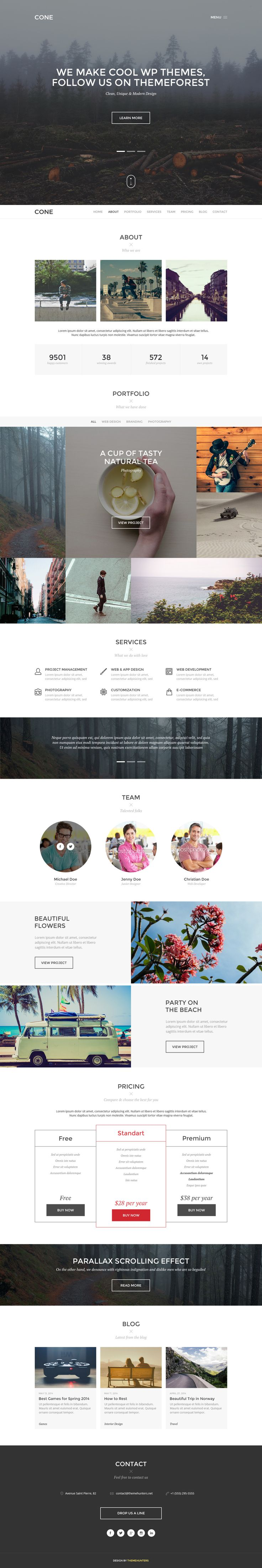 CONE - Onepage PSD Template