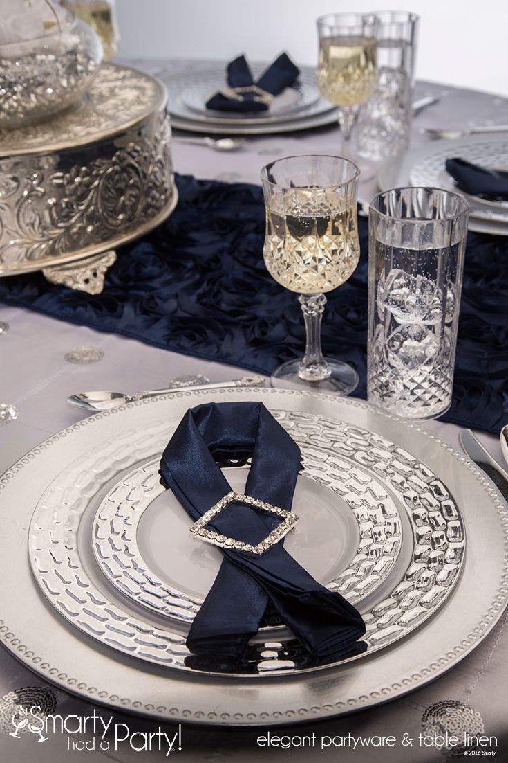 Beautiful Natalia Navy Blue & Silver Place Setting | SmartyHadAParty.com