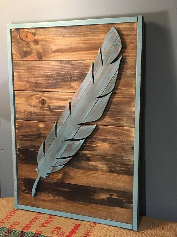 Feather Decor Wooden Feather Wood Silhouette Feather Art Boho Home