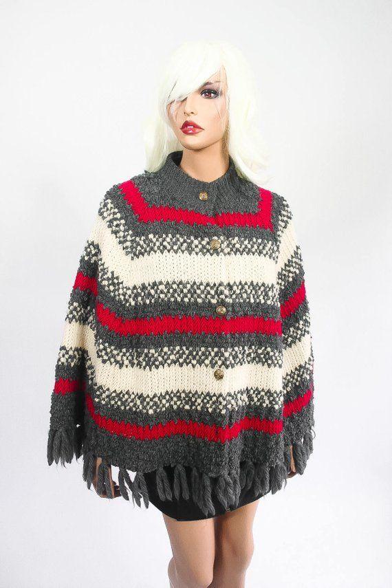 Vintage 1970s Womens Woven Fringe Sweater Jacket Shawl Blanket Coat