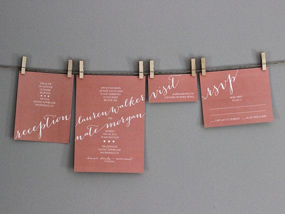 Modern Whimsical Wedding Invitations   Coral + White