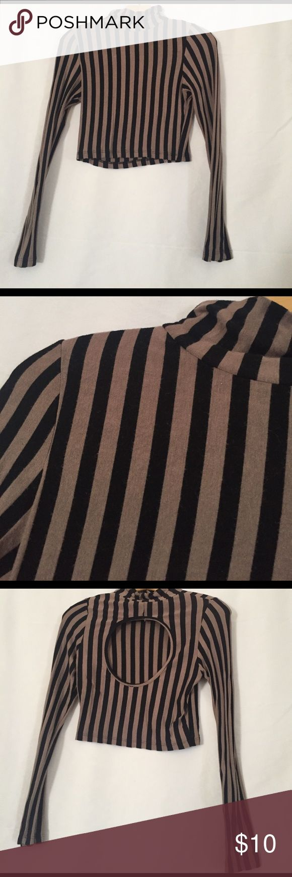 Brown and black striped crop top mock turtleneck Light brown and black striped mock turtleneck crop top with circular cut out on back long sleeve Tops Crop Tops