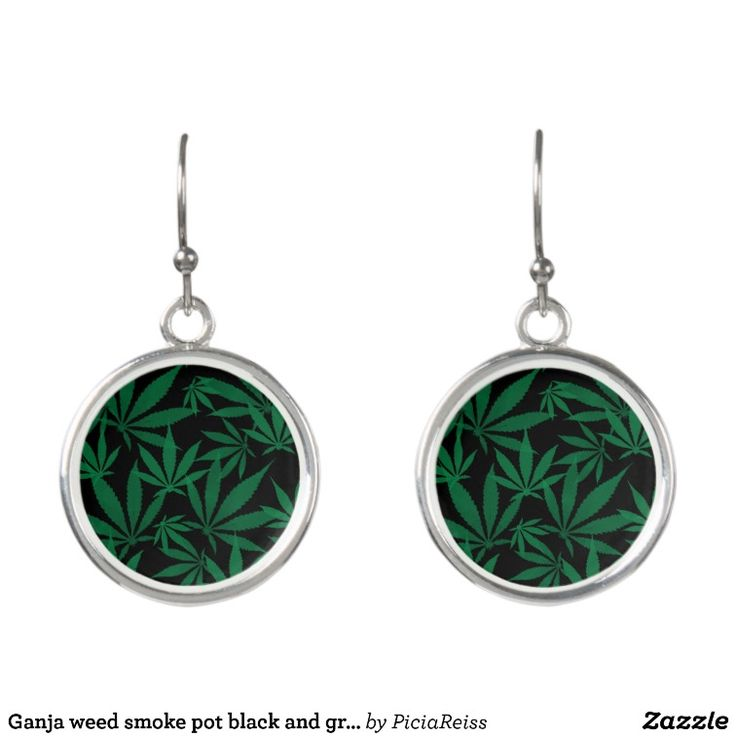 Ganja weed smoke pot black and green pattern earrings