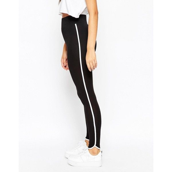 ASOS Leggings with Contrast Binding ($21) ❤ liked on Polyvore featuring pants, leggings, black, wide-leg pants, legging pants, high waisted leggings, tall pants and high waist pants