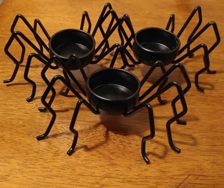 Black Spider legs candle holder tea light lot of 3 Halloween metal GUC