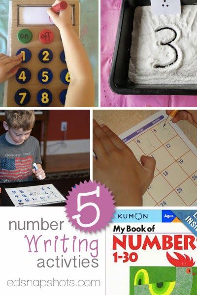 Five Learn to Write Numbers Activities. Preschool activities, kindergarten activities, and activities for early elementary to practice number writing.