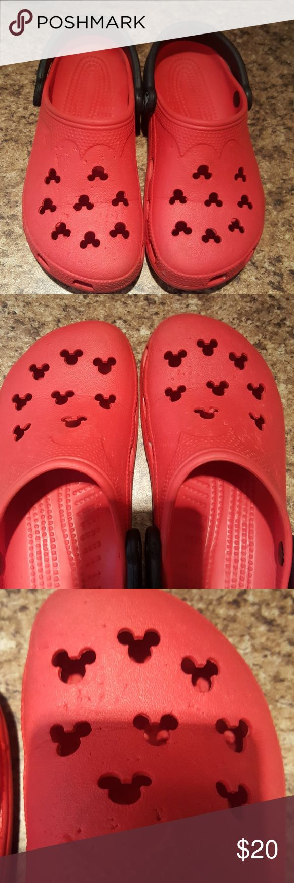 SIZE 6 WOMEN'S DISNEY CROCS GUC SIZE 6-7 WOMEN'S CROCS DISNEY MICKEY MOUSE LOGOS SUPER CUTE CROCS Shoes Flats & Loafers