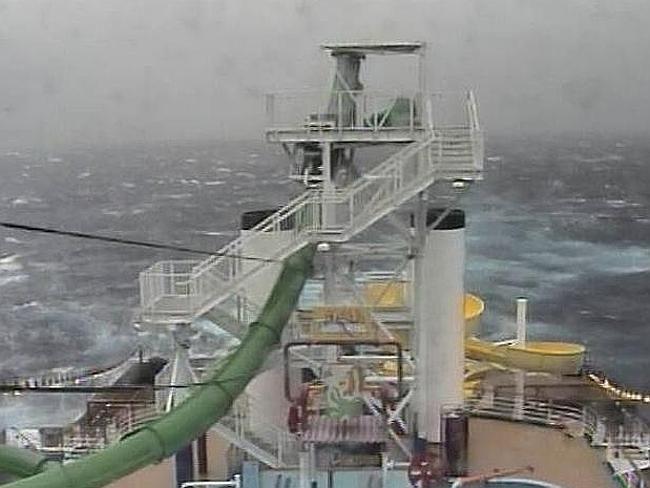 Cruise ship stuck in wild seas
