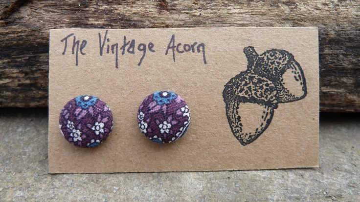Floral Fabric Button Earrings.