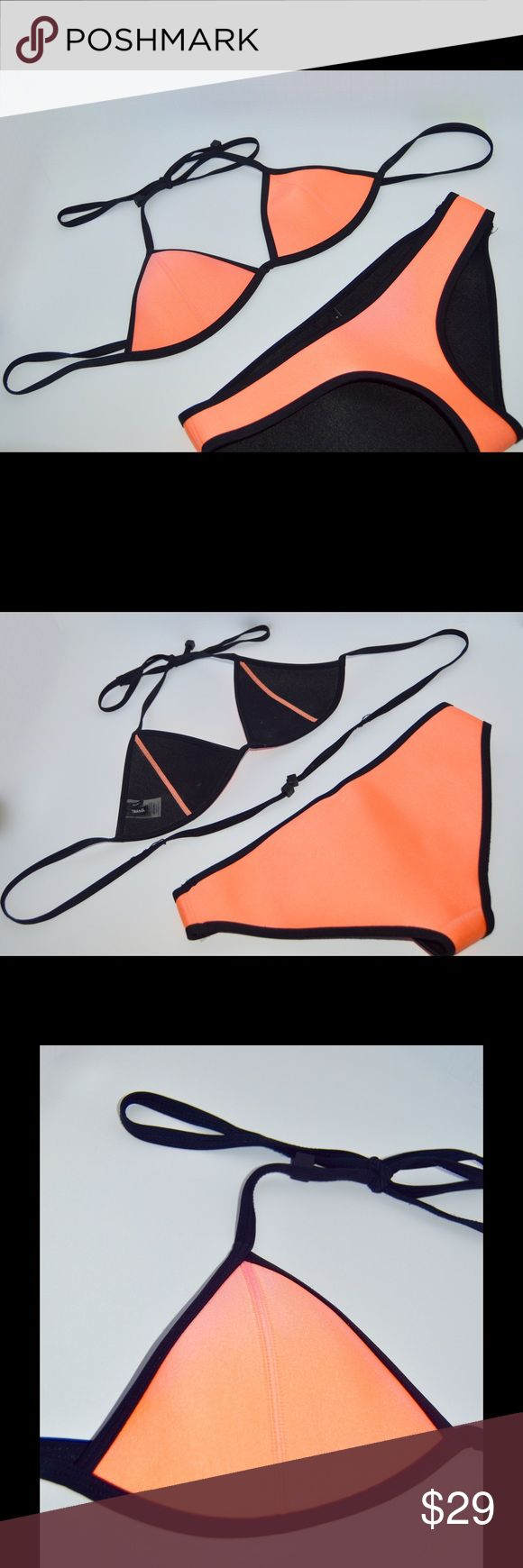 Triangl Bikini TOP Neon orange Triangl brand bikini TOP! See last picture for damage  NO TRADES  Will accept reasonable offers!  comment any questions you may have! triangl swimwear Swim Bikinis