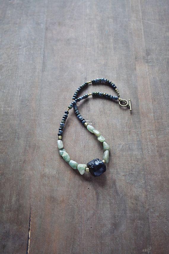 Mixed Media Boho Necklace / Black Green Moss by BlueBirdLab, $51.00
