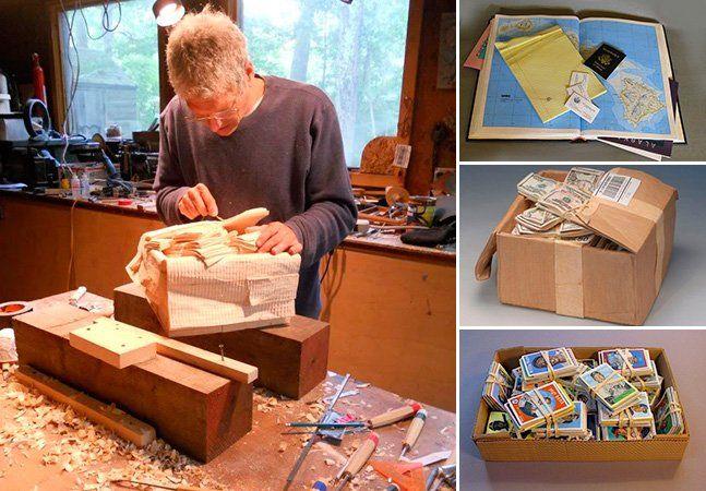 Um talento simplesmente extraordinário. São algumas das palavras para tentar descrever um pouco do trabalho deRandall Rosenthal, um pintor e escultor capaz de transformar simples blocos de madeira em ilusões, com uma riqueza de detalhes inimaginável, desde a caixa de papelão amassada e gasta, passando pela fita adesiva soltando, até a pintura perfeita das notas de dólar. Ele esculpe e pinta minuciosamente reproduzindo a textura, o tom e a forma em cada escultura. Um detalhe interessante é…