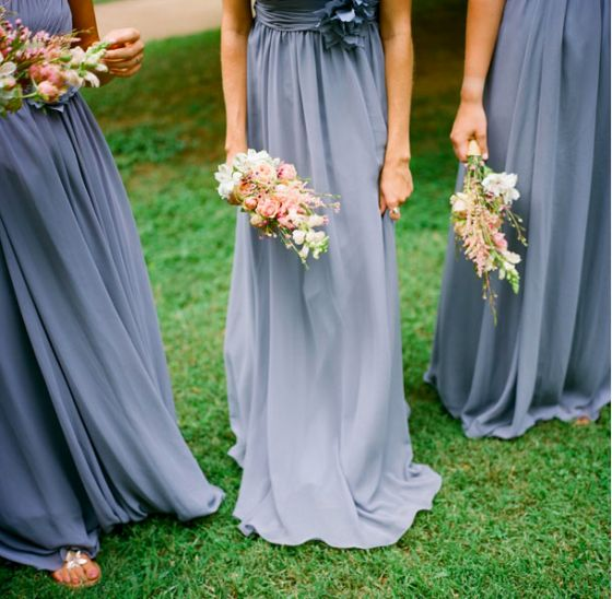Gorgeous dusky blue bridesmaid dresses <3