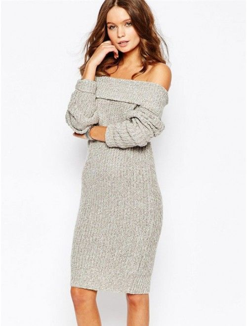 Bemutatjuk neked ezt a divatos kotott pulover ruhat. Kaphato a webshopunkban!  #divat #fashion #tanitafashion http://j.mp/tf-gray-off-the-shoulder-dress