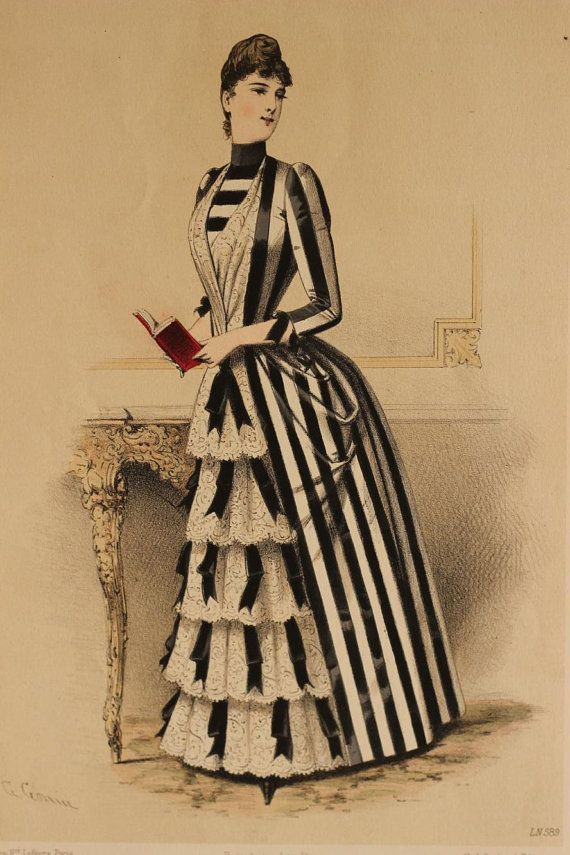 1880s fashion plate, beautiful striped dress from the 2nd bustle period.