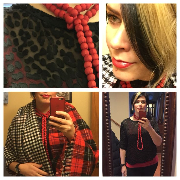 Nov. 28, 2015: red silk beads, black rayon/silk leopard burnout top, red tank. The grey in my streak washed out, that's ok since it was a happy mistake anyway. Red liner applied over all with glitter gloss on top. My new reversible blanket scarf. Black skinnies.