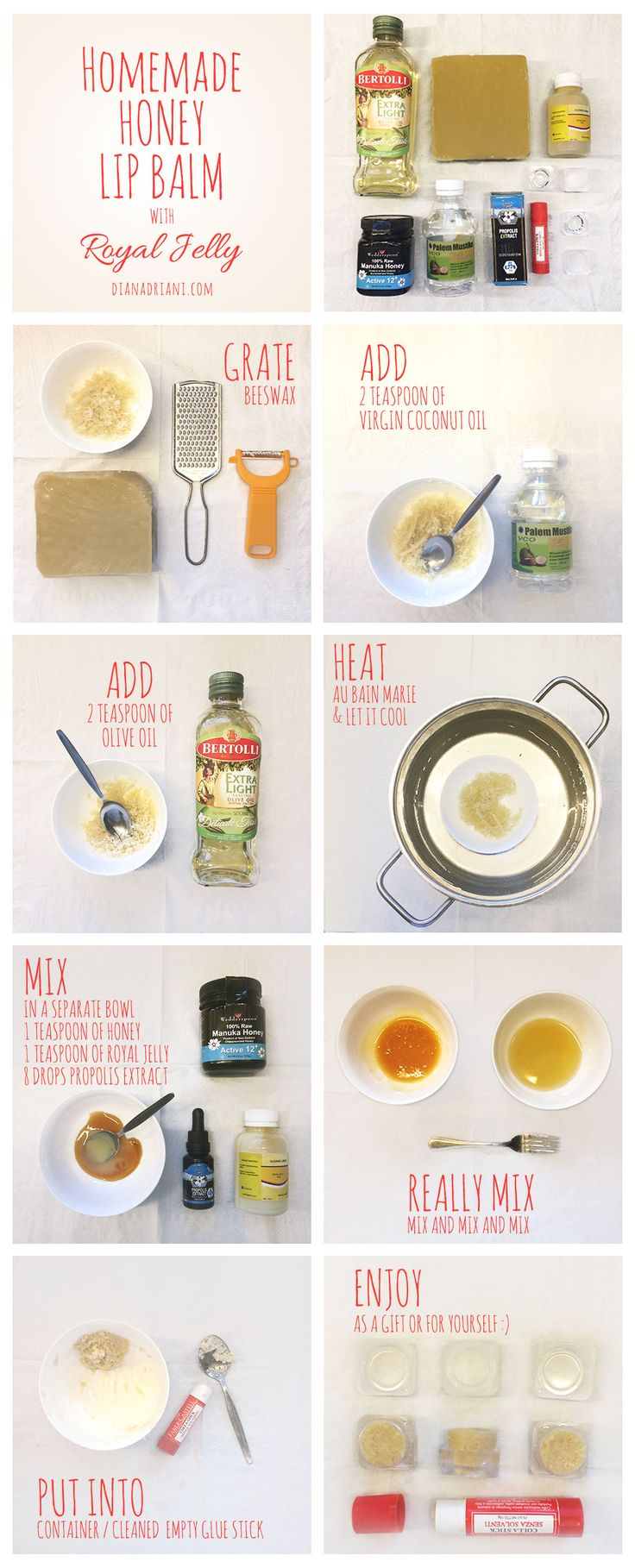 Homemade Honey Lip balm with Royal Jelly (Pictorial) - Dian Adriani #skincare #diy #makeup #lip balm #lipbalm #homemade #diymakeup #diyskincare #honey #organic #natural #pictorial #tutorial