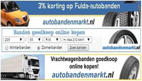 Banden korting, Nederland. 3% korting op Fulda-autobanden en complete wielen.