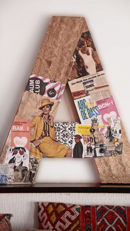"I love this idea but I would use pics of the fam instead of magazine clippings, PERFECT for our ""A"" wall"