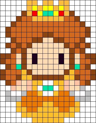 Princess Daisy Sprite Perler Bead Pattern / Bead Sprite