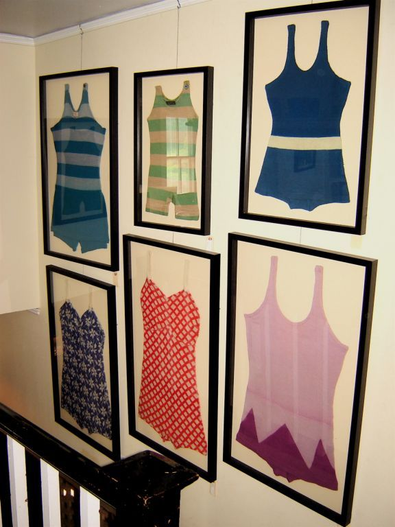 framed vintage swimsuits - how fun would this be in a lake or beach house?
