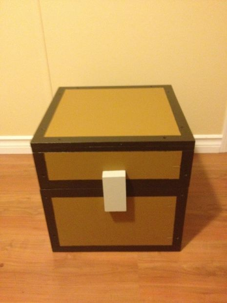 DIY Craft: This is a scale replica of a chest from minecraft. The one from the game is 14X14X14 pixels in size so i made mine to scale at 14X14X14 (1pixel=1inch). Even