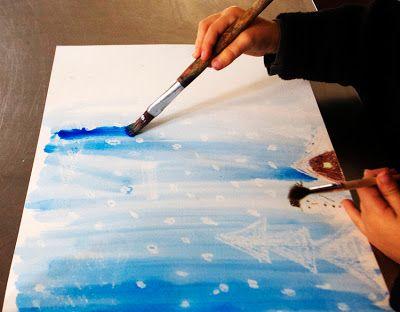 Schneebild mit weissem Wachs und Wasserfarben