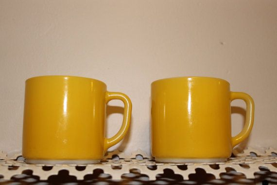 Set of Two Yellow Fire King Mugs by MabelStMiscellany on Etsy, $15.00