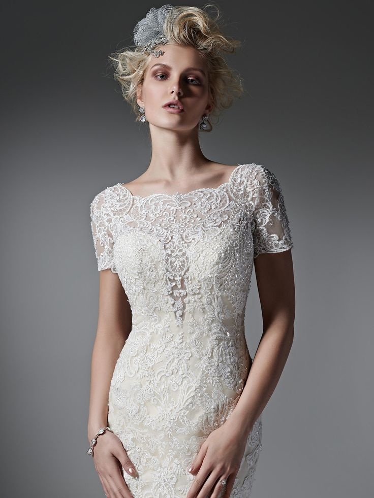 17 best images about sottero and midgley on pinterest for Wedding dress with illusion top