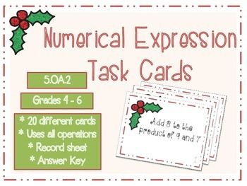 Numerical Expression Christmas Task Cards!