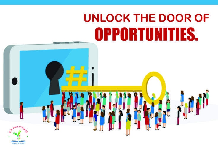 Earn your #goldenkey to #unlock the door of future opportunities with the wisdom in your #knowledge #SBPatilCollege