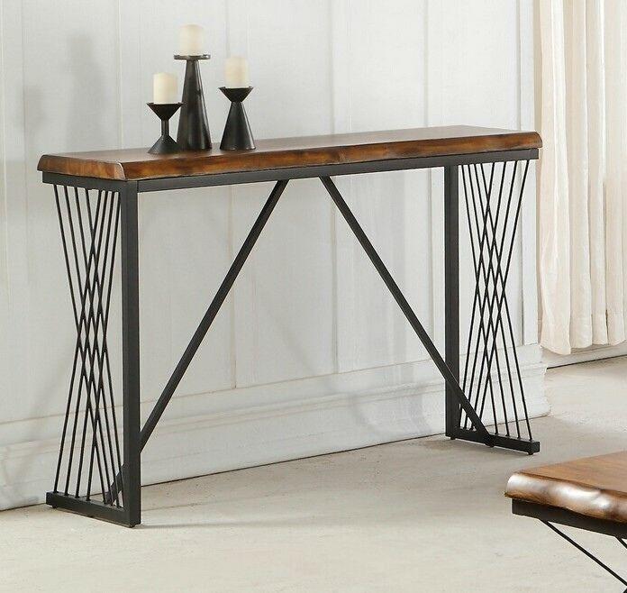 Acme 82886 Callum Antique Oak Finish Wood Natural Edge Black Metal Frame Sofa Entry Console Table Entry Console Table Console Table Contemporary Console Table