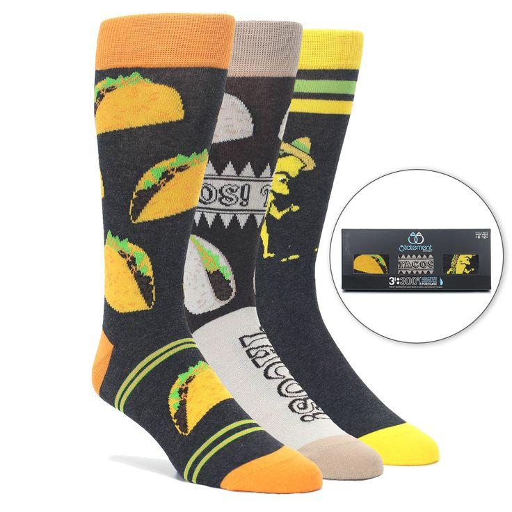 Taco Men's Novelty Dress Sock Gift Box 3 Pairs