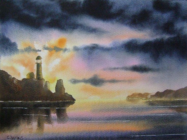 Sunset Lighthouse 15 x 11 Watercolour