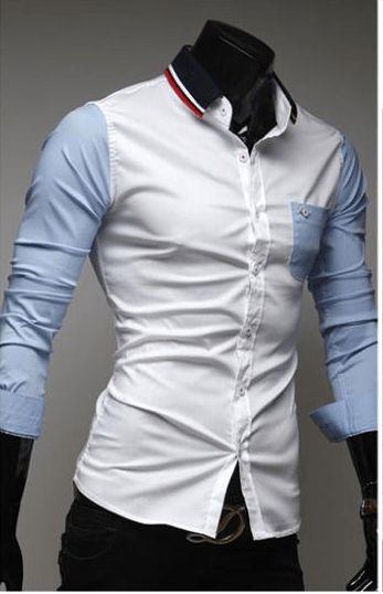 Mens Slim Fit Shirts Block Decoration Fashion Long-Sleeve Pocket Tee