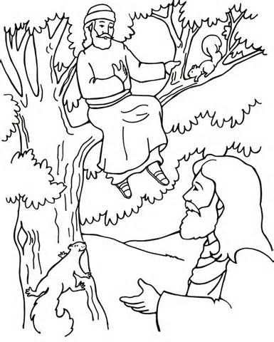 CHapter 16 Zacchaeus And Jesus Coloring Page