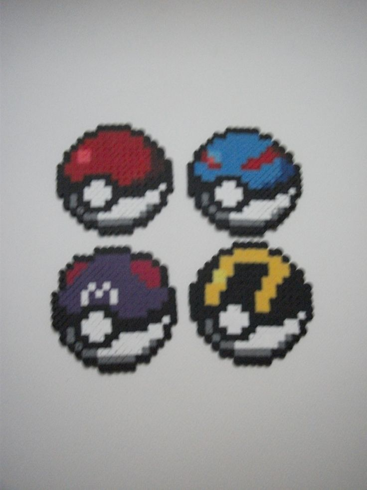 Poké ball, Great ball, Master ball, Ultra ball -  Hama Beads